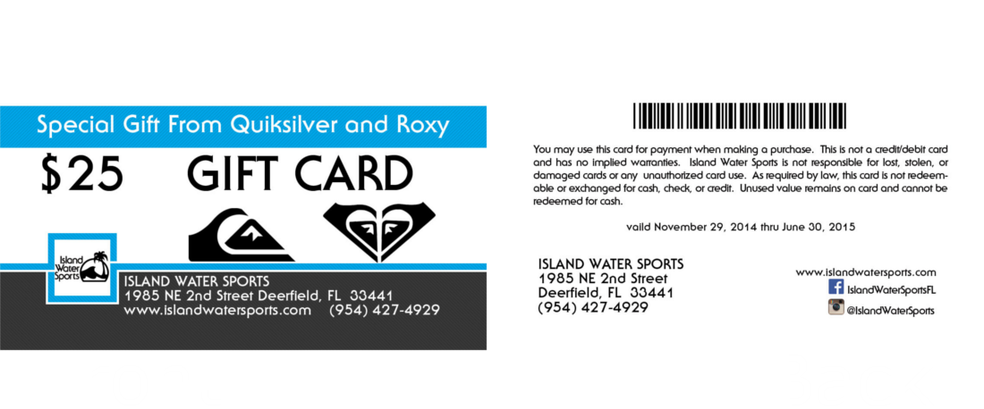 $25 Gift Card From Quiksilver and Roxy